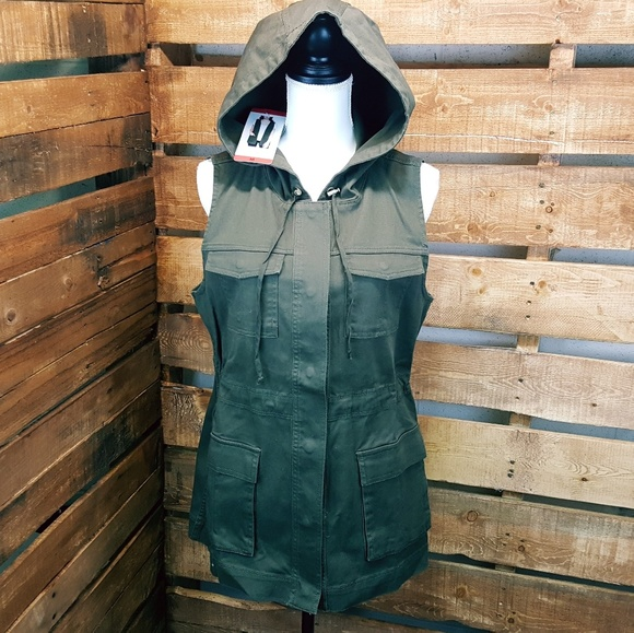 NEW Ladies Matty M Hooded Khaki Cargo Vest CUTE! Xsmall